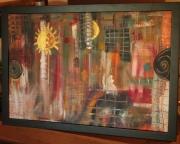 tableau abstrait abstraits couleurs multicouleurs soleil : TABLEAU ACRYLIQUE ABSTRAIT