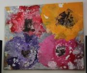 tableau fleurs fleurs acryliques abstraites deco : FLEURS ABSTRAITES