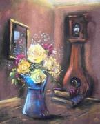 tableau roses horloge intimisme temps qui passe : Le temps des roses