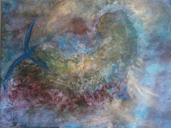 TABLEAU PEINTURE peinturesymbolique grand est peinture Personnages Acrylique  - La petite sirène