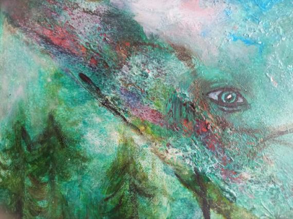 TABLEAU PEINTURE artGrandEst symbolisme peinturesplombiereslesbains coriandrepaintings Paysages Acrylique  - Un parfum bucolique
