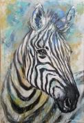 tableau animaux zebre acrylique peinture animaux : Tête de zèbre bleu