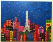 tableau villes tour eiffel paris ville buildings : Colorful Paris by night