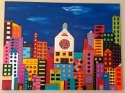 tableau villes ville multicolore buildings city : Colorful City