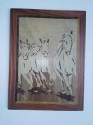 bois marqueterie animaux chevaux de camargue : Camargue