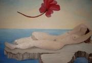 tableau personnages femme nus mer fleur : la femme et la fleur