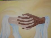 tableau personnages mains fraternite humanite antirascisme : Fraternité
