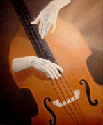 tableau autres musique contrebasse instrument mains : le contrebassiste