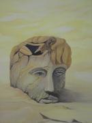 tableau personnages desert visage homme sable : désert affectif