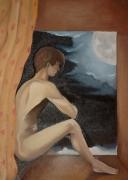 tableau personnages homme nus lune nuit : l'homme de la lune