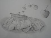 dessin fruits cerise corbeille fruit : nature morte aérienne