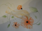 tableau fleurs coquelicot main fleur plante : coquelicots