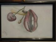 dessin fruits cerise bouche levres : gourmandise