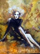 tableau personnages marlene dietrich portrait jazz musique : Marlène in jazz