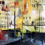 tableau villes lyon scene de vie pont paysage : passerelle a lyon