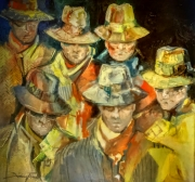 tableau personnages figuratif peinture contemporain : BAS LES MASQUES