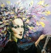 tableau personnages femme portrait peinture mode : femme au volant