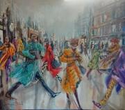 tableau scene de genre tableau peinture damian tirado bourgogne : dans le brouillard