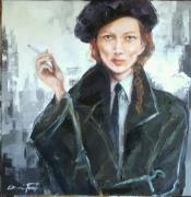 tableau personnages art figuratif contemporain : ELLE
