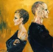 tableau personnages couple bourgogne franche co homme femme : dos à dos