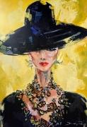 tableau personnages femme portrait couteau peinture : bazaz