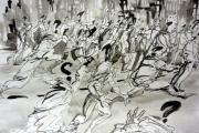 tableau scene de genre noir et blanc peinture dessin scene du genre : REVOLUTION EN NOIR ET BLANC
