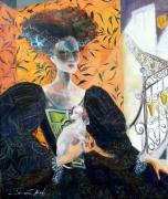 tableau portrait femme histoire chatelaine femme : Marguerite de Bussueil
