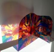 sculpture abstrait design vitrail couleurs quotidien : Le coeur jaune orange