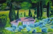 tableau paysages cypres provence peinture paysage : Les cyprès