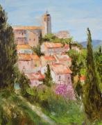 tableau paysages sollies ville peinture couteau provence village : Solliès Ville