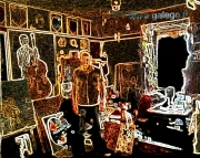 photo scene de genre autoportrait galego atelier paris : autoportrait