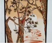 tableau paysages bretagne bord de mer coucher de soleil pins : Reflets