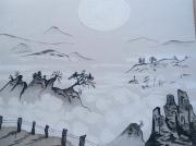tableau paysages sable japonisant : Brume du matin