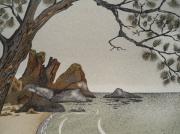 tableau paysages bretagne plage bord de mer sable : Plage de st Laurent