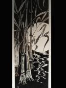tableau paysages bambous clair de lune sable art : Bambous au clair de lune