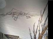 tableau paysages ile bambous art sable : L'ilot aux bambous