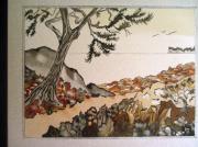 tableau paysages bretagne cap frehel landes sable : Landes de Frehel