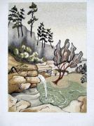 tableau paysages eau arbre cascade sable : La cascade