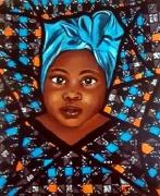 tableau personnages fille afrique wax enfant : Cacahuète