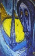 tableau personnages peinture huile reflexion psychologiie : Secret de Jeune fille