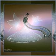 tableau autres tableau artistique sous verre acrylique decoratif contemporrain : flacon aux papillons