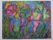 tableau paysages : ARBRES ANIMAUX  acrylique sur papier