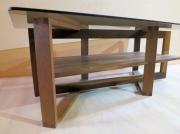 deco design autres table basse bois design : Table basse 4 carrés sous verre