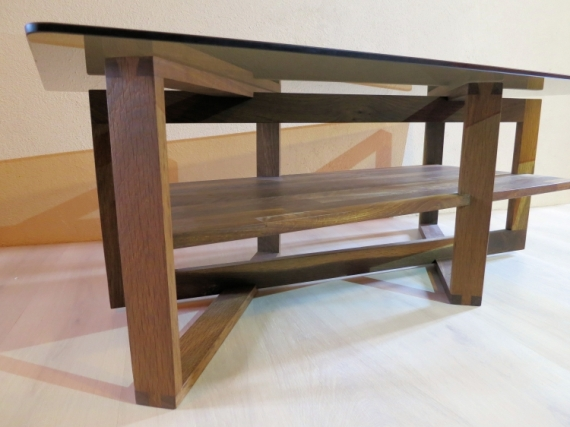 DéCO, DESIGN table basse bois design  - Table basse 4 carrés sous verre