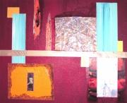 tableau abstrait art collage acrylique moderne : collage