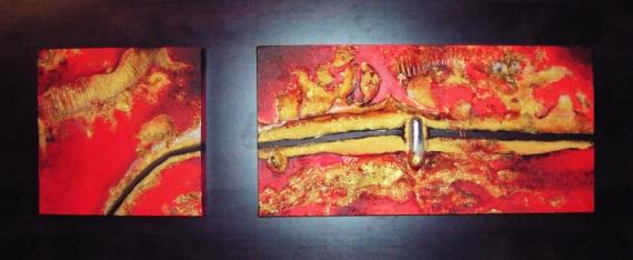 TABLEAU PEINTURE art acrylique abstrait moderne Abstrait  - red two