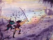 tableau scene de genre art aquarelle japon moderne : La fin du clan des Kusunoski