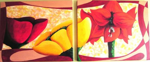 TABLEAU PEINTURE art acrylique fleur moderne Fleurs  - Flowers