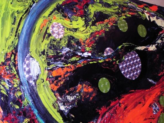 TABLEAU PEINTURE art huile couteau moderne Abstrait Peinture a l'huile  - Galaxies