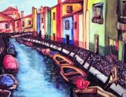 tableau villes art aquarelle ville moderne : Murano